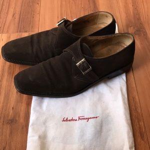 Salvatore Ferragamo Shoes - Salvatore Ferragamo Brown Suede Monk Strap size 9